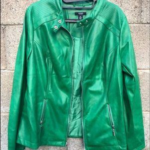ALFANI Luxe Jungle Green Moto Jacket SZOX NWT